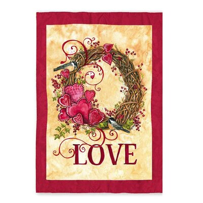 Valentine's Wreath Garden Flag