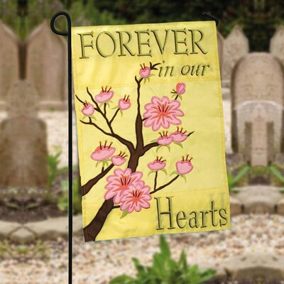 Forever in Our Hearts Applique Cemetary Garden Flag