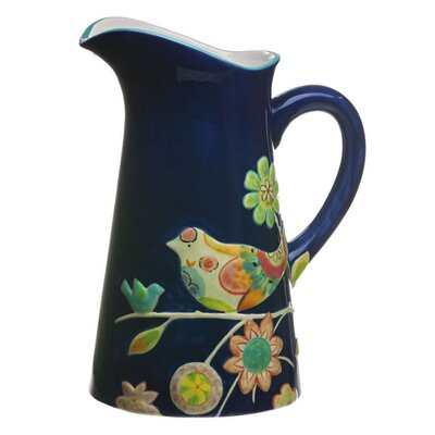 Garden Charm Embossed Hand Painted Ceramic Pitcher