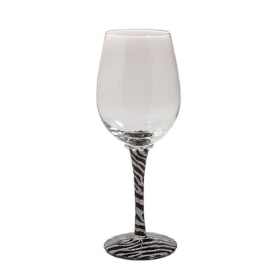 Zebra Handpainted Frosted Wine Glass with Rhinestones