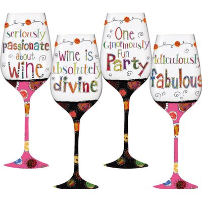 Wonderfully Quirky Handpaint Wine Glass (Set of 4)