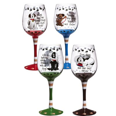Life with a Dog Wine Glasses (Set of 4)