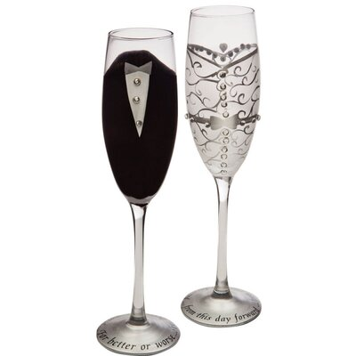 Bride and Groom Handpainted Champagne Flutes (Set of 2)