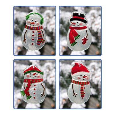 Snowmen Hand Painted Glass Ornament (Set of 4)