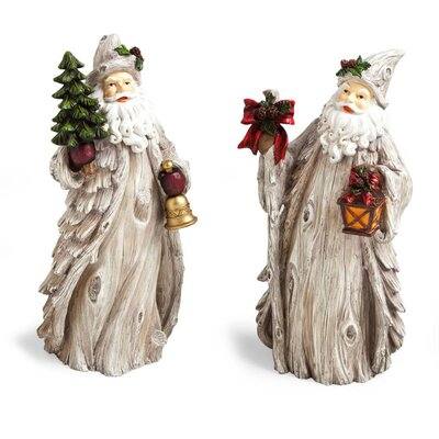 Cypress Home Cabin Christmas Santa Polystone Table Decor (Set of 2)