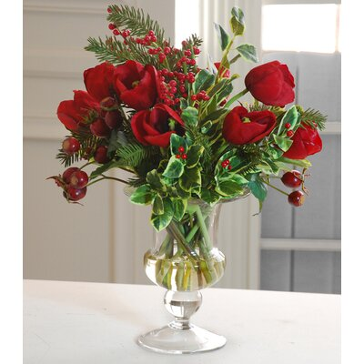 Jane Seymour Botanicals Tulip Holiday Bouquet in Glass Vase