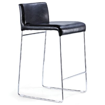 Nuevo Nina Nauga Counter Stool in Black