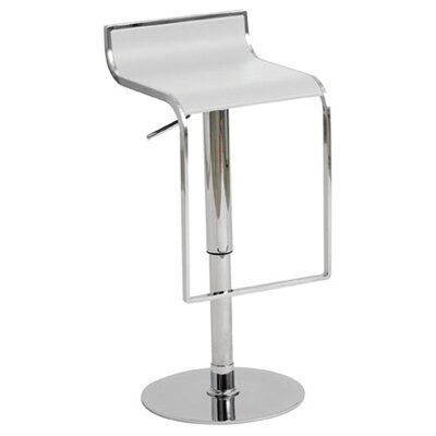 Nuevo Alexander Adjustable Bar Stool in White Leather