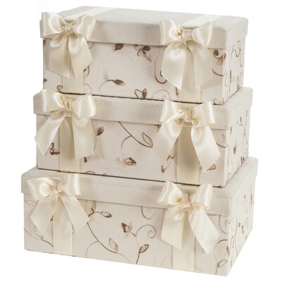 Suede Leaf Storage Box (Set of 3)