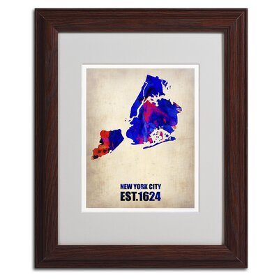 'New York City Watercolor Map' Matted Framed Art by Naxart
