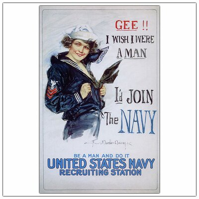 "Trademark Fine Art US Navy Woman by Howard Christy, Traditional Canvas Art - 32"" x 24"""