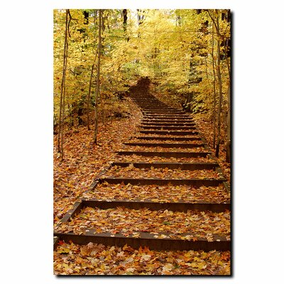 "Trademark Fine Art Fall Stairway by Kurt Shaffer, Canvas Art - 32"" x 24"""