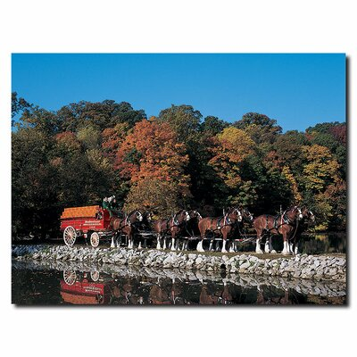 Trademark Fine Art Clydesdales in Fall By Stone Pond Canvas Art