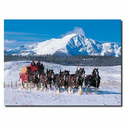 "Trademark Fine Art Clydesdales in Snow Covered Mountains 14"" Canvas Art"