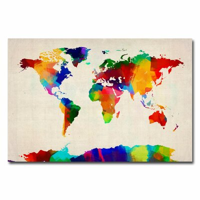 Trademark Art 39 Sponge Painting World Map 39 by Michael Tompsett Graphic