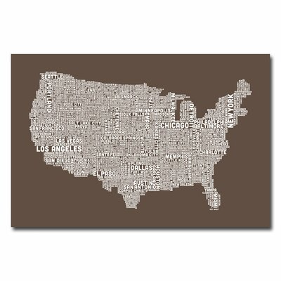 US City Map V by Michael Tompsett Textual Art on Canvas in Brown