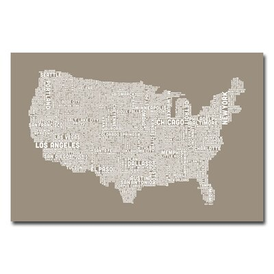 US City Map V by Michael Tompsett Textual Art on Canvas in Tan