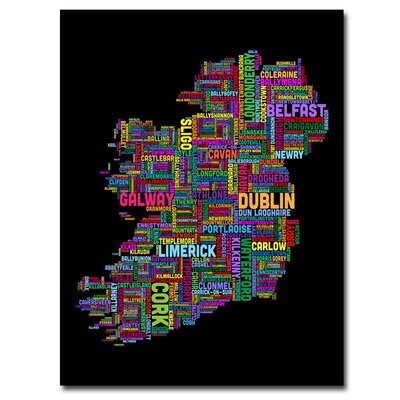 'Ireland City Map IV' by Michael Tompsett Graphic Art on Canvas