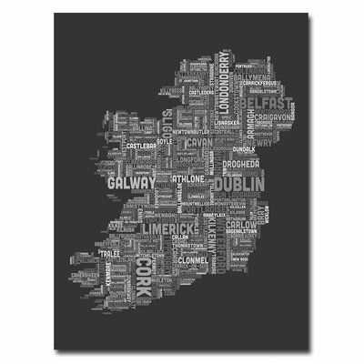 Ireland City Map X by Michael Tompsett Textual Art on Canvas in Charcoal