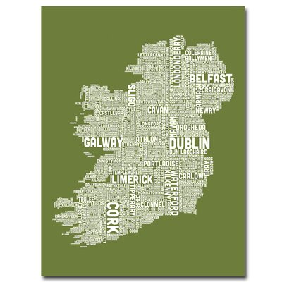 Ireland City Map X by Michael Tompsett Textual Art on Canvas in Green