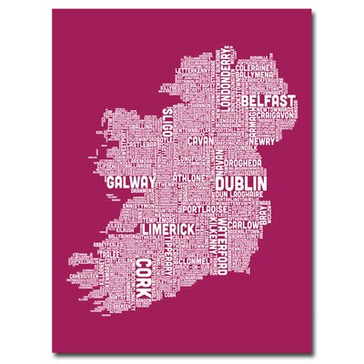 Ireland City Map X by Michael Tompsett Textual Art on Canvas in Fuschia