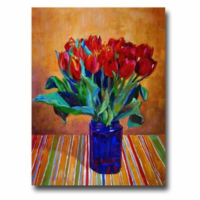 Trademark Fine Art 'Tulips in Blue Glass' Canvas Art