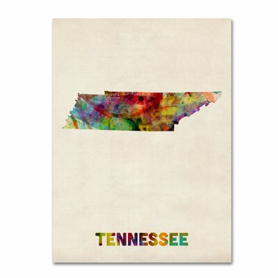 'Tennessee Map' by Michael Tompsett Graphic Art on Canvas