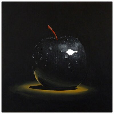 'Black Apple' by Roderick Stevens Painting Print on Canvas