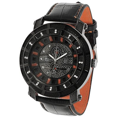 Men's Rhinestone Accented Leather Watch
