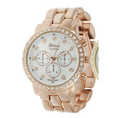 Women's Rhinestone Accented Chronograph Link Watch