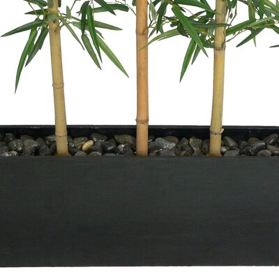 Laura Ashley Home 8' Silk Bamboo Tree Screen with Contemporary Wood Planter