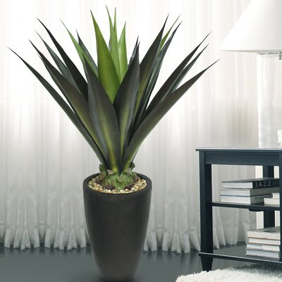 Tall High End Realistic Silk Giant Aloe Plant with Contemporary Planter