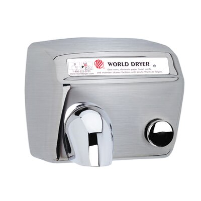 World Dryer Model A Durable 208-240 Volt Hand Dryer in Brushed Stainless Steel