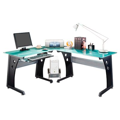 Techni Mobili Graphite & Frosted Glass L-Shaped Computer Desk with CPU Caddy