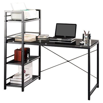 Techni Mobili Glass Top Computer Desk with 4-Shelf Metal Bookcase