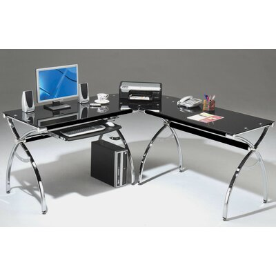 Techni Mobili L-Shaped Glass Computer Desk with Chrome Frame