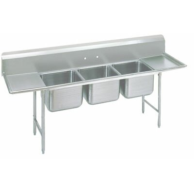 Advance Tabco 930 Series Seamless Bowl 3 Compartment Scullery Sink