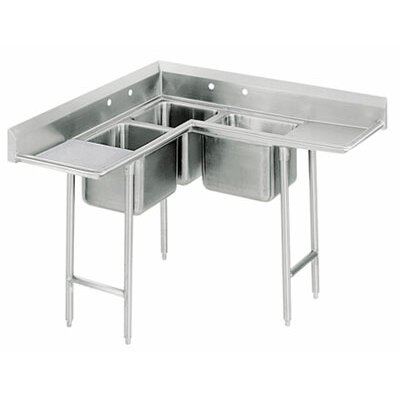 "Advance Tabco Corner 85"" x 27"" 3 Compartment Scullery Sink"