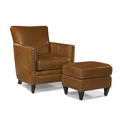 logan leather arm chair and ottoman wayfair