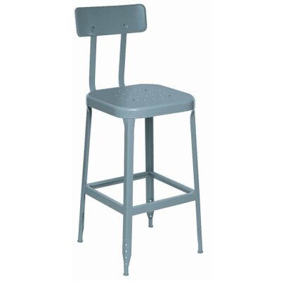 "Lyon Workspace Products 2 Pack- Blue 18"" Stool With Back, Steel Seat, Rubber Feet with Steel Glide"