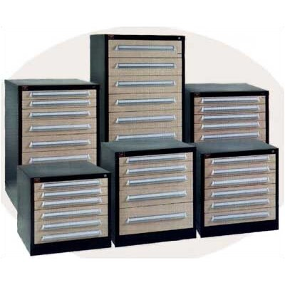 "Lyon Workspace Products Counter High Standard Cabinet with 10 Drawers: 30"" W x 28 1/4"" D x 44 1/4"" H"