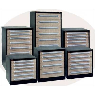 "Lyon Workspace Products Eye-Level High Extra Wide Cabinet with 11 Drawers: 45"" W x 28 1/4"" D x 59 1/4"" H"