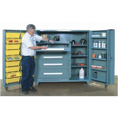Lyon Workspace Products 60&quot; Wide Cabinet w/ 36&quot; W Modular Drawers and Adjustable Shelves