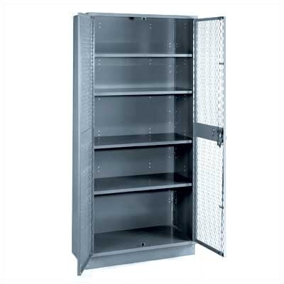 Lyon Workspace Products All-Welded Visible Storage Cabinet with 4 Shelves and 4&quot; Base: 72&quot; H x 36&quot; W x 18&quot; D