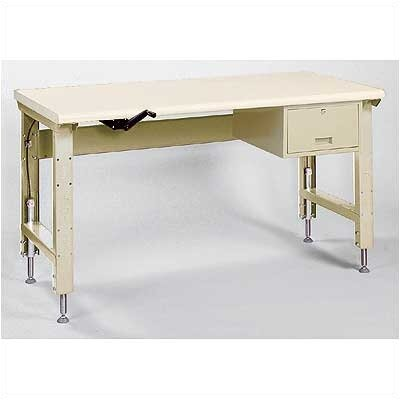 "Lyon Workspace Products Ergo-Bench Work Station with Stringer and Drawer: 72"" W x 34"" D"