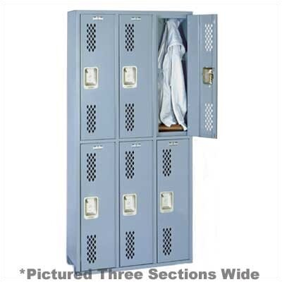 Lyon Workspace Products Integrated Frame All Welded Locker - Double Tier - 3 Sections