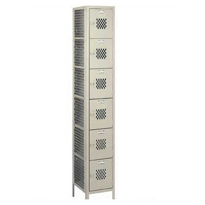 Lyon Workspace Products Expanded Metal Locker - Six Tiers - 2 Sections (Unassembled)
