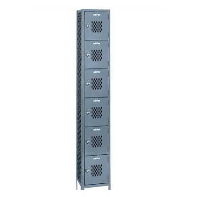 Lyon Workspace Products All Welded Expanded Metal Locker - Six Tiers - 3 Sections - with Legs