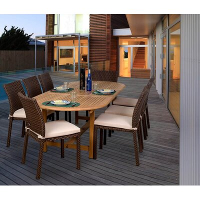 Amazonia Alexandria 9-Piece Teak/Wicker Dining Set