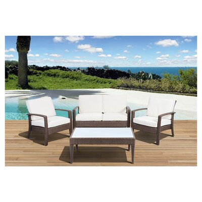 <strong>International Home Miami</strong> Atlantic Java 4 Piece Lounge Seating Group with Cushion
